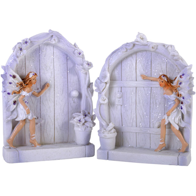 Pair Of Lilac Glitter Fairy Doors | Mystic Wish