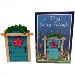 turquoise flower fairy door