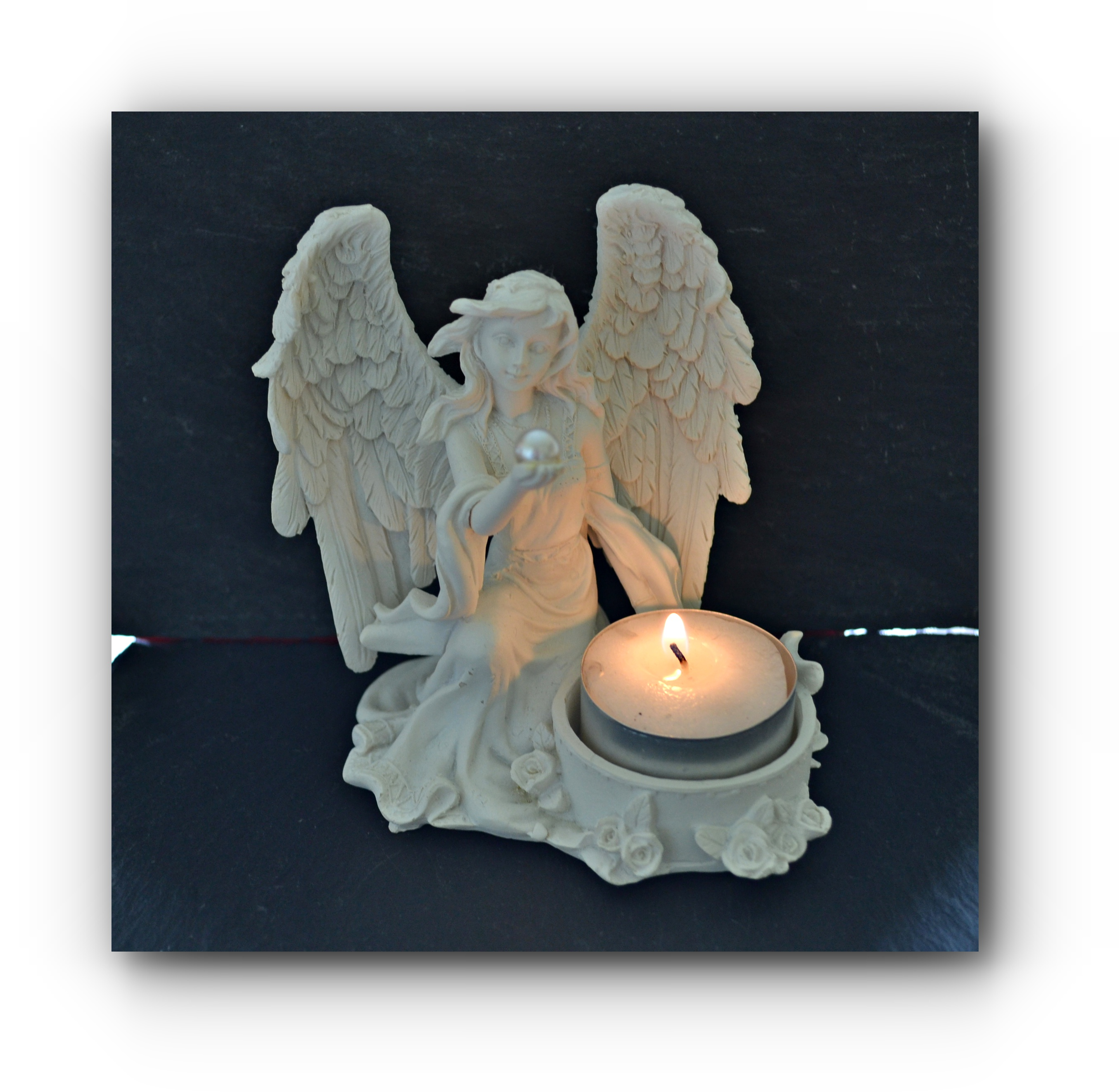 Guardian Angel Pearl Tea Light Holder Mystic Wish