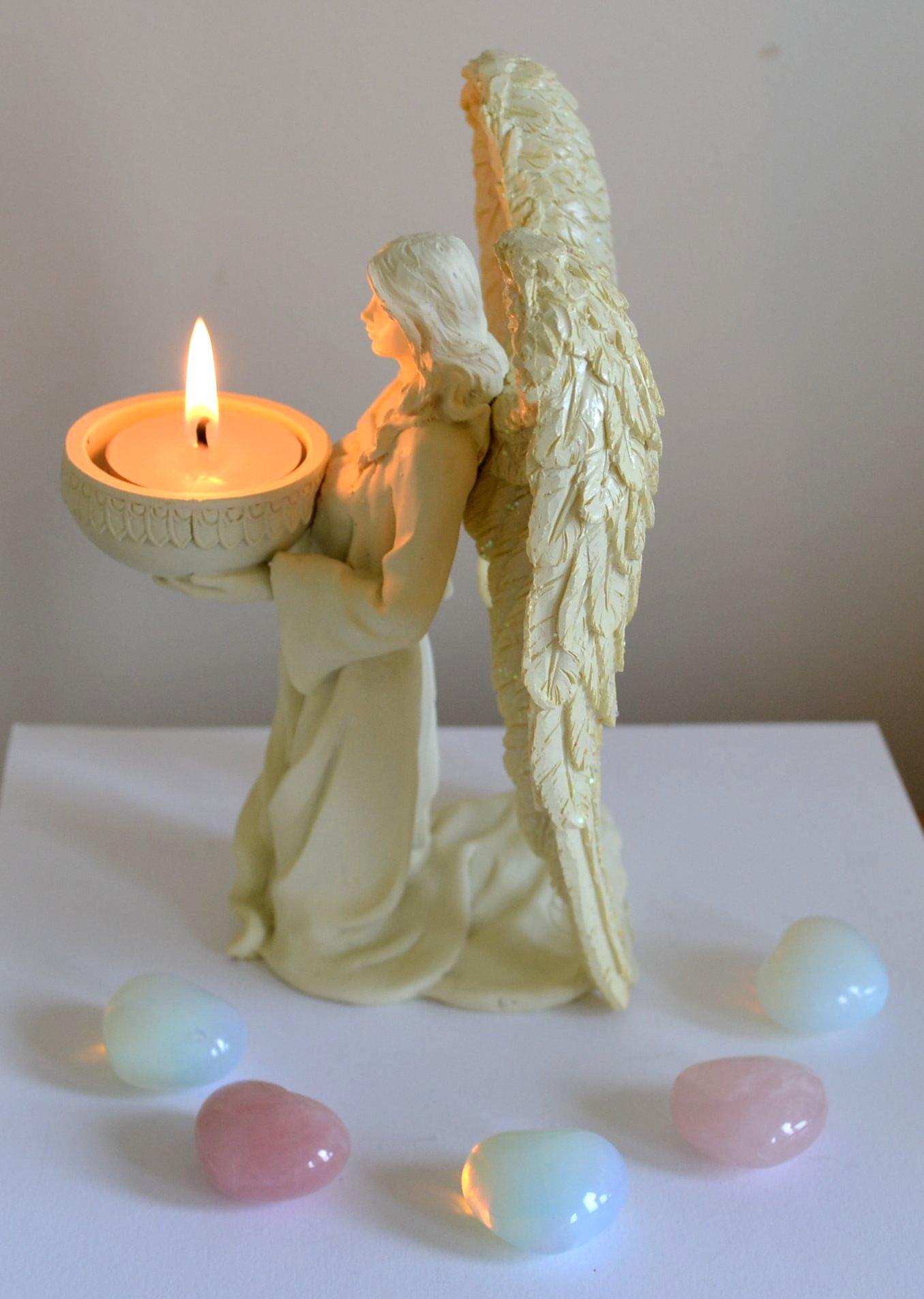 Kneeling Cream Angel Tealight Candle Holder Mystic Wish
