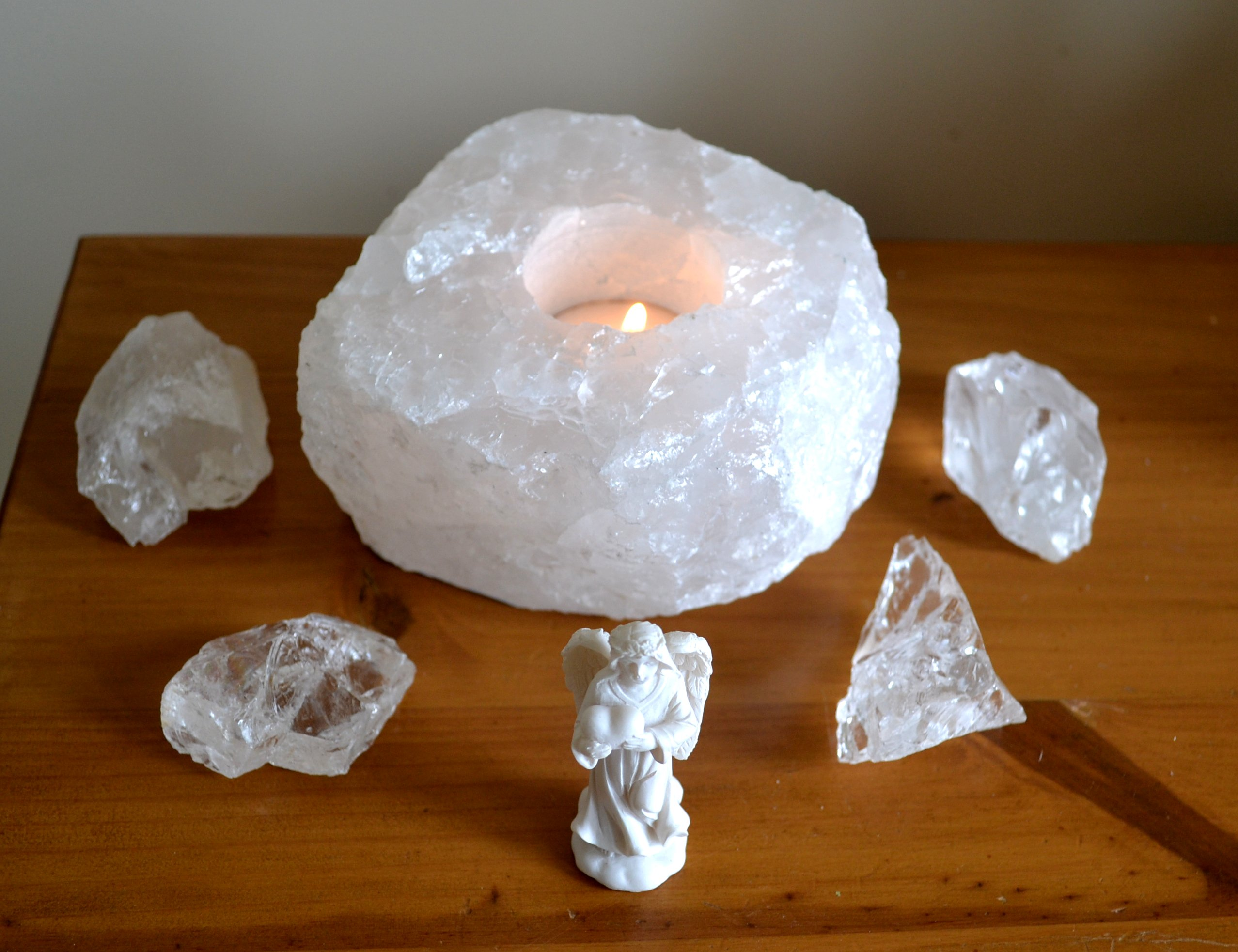 Clear Snow Quartz Tealight Candle Holder Mystic Wish