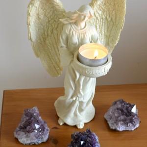 cream angel candle holder