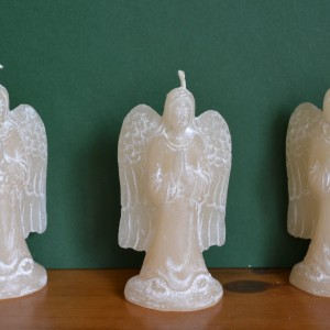 cream white angel candle