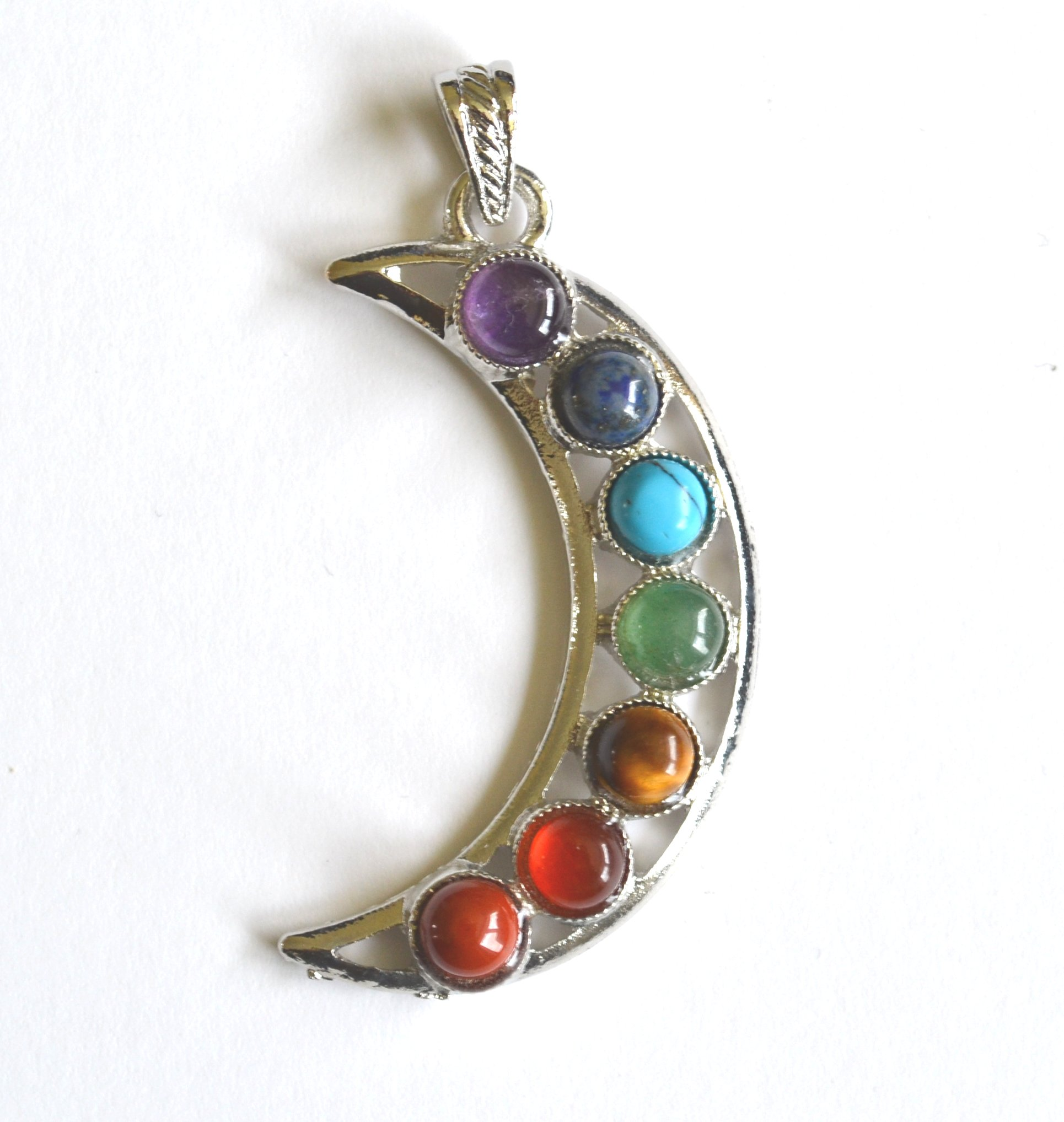 crystal accented silver tone crescent pendant necklace moon us