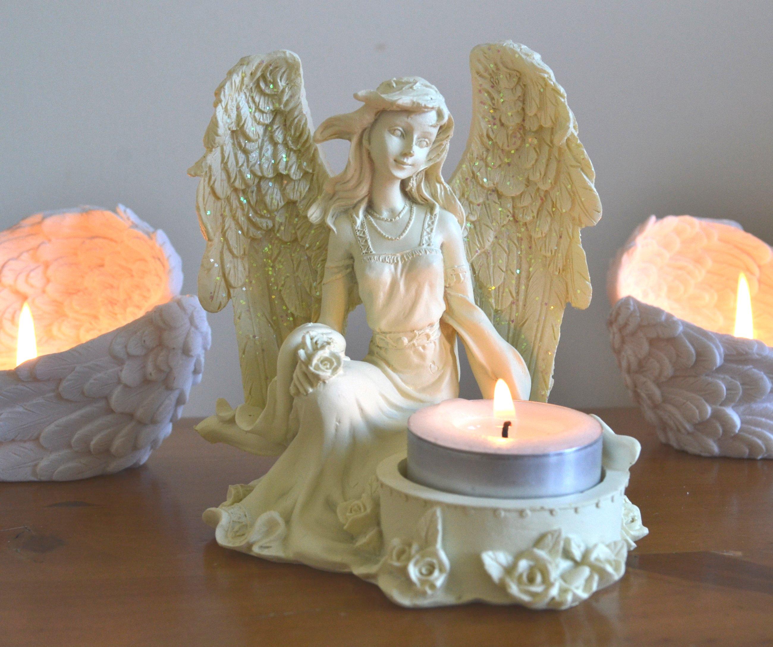 Rose Angel Tealight Candle Holder Mystic Wish