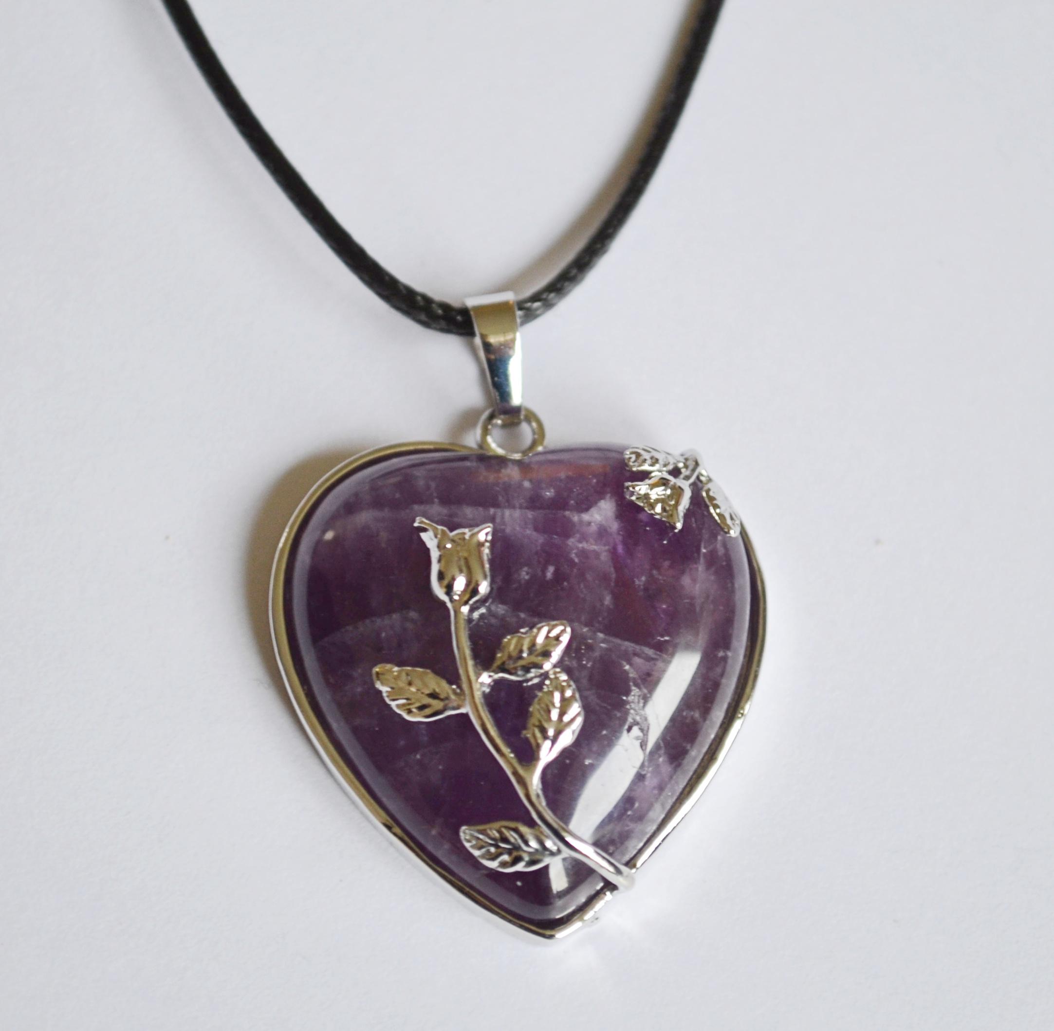 Amethyst Heart Rose Pendant Necklace Mystic Wish