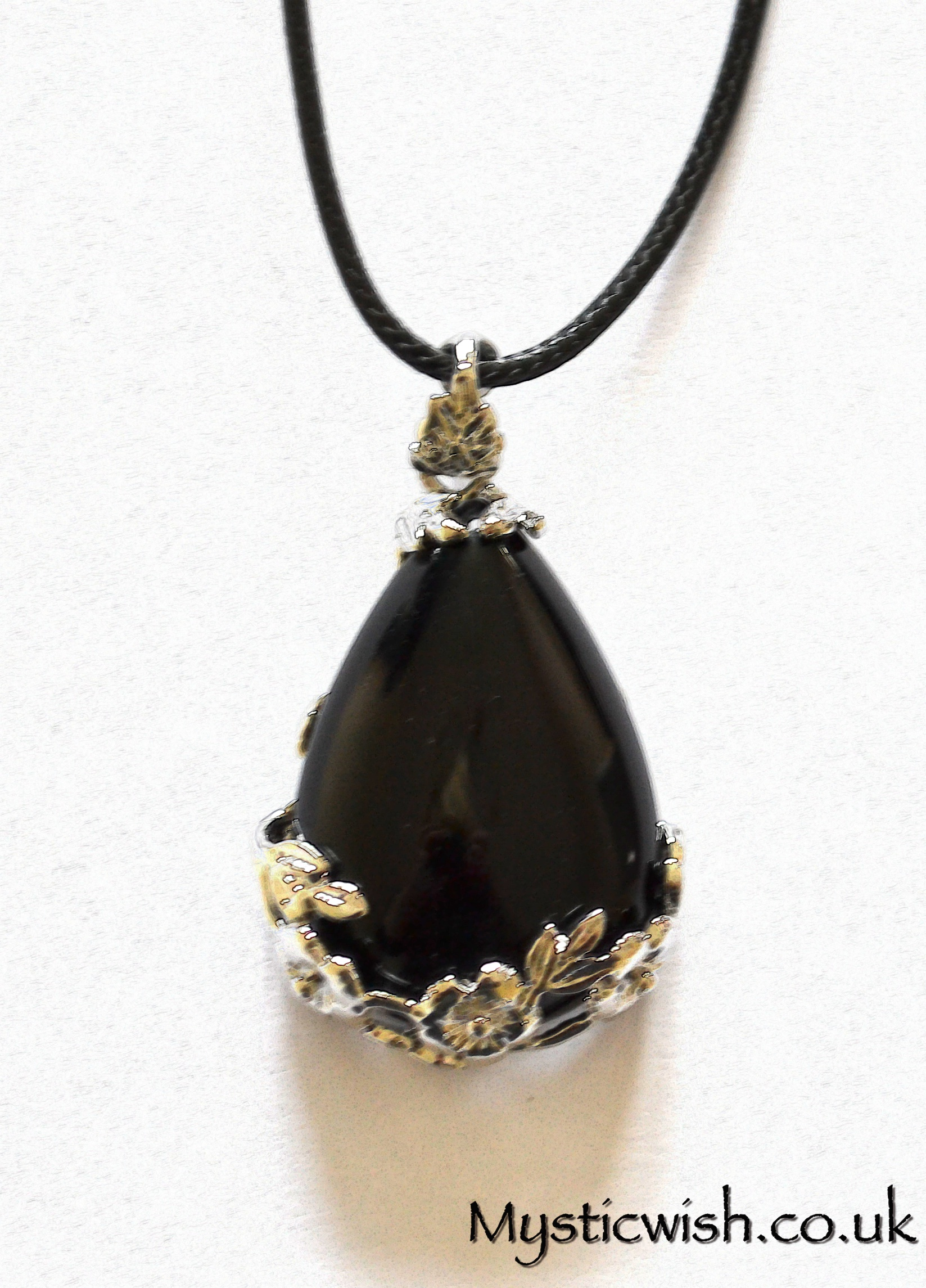 Black obsidian tear drop pendant with flower frame mystic wish black obsidian tear drop pendant with flower frame aloadofball Image collections