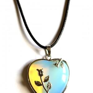 opalite heart pendant necklace