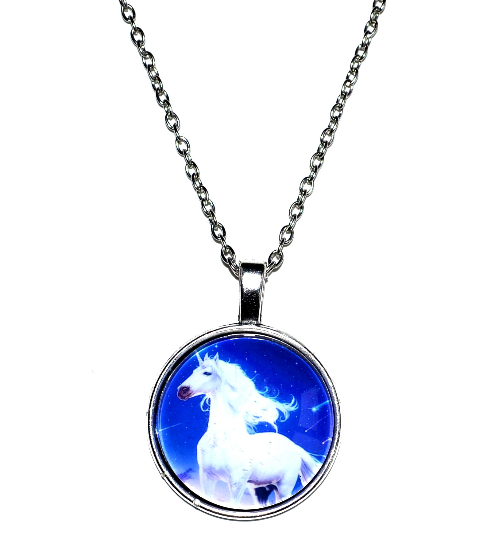 Unicorn Necklace Silver Plated Chain Mystic Wish