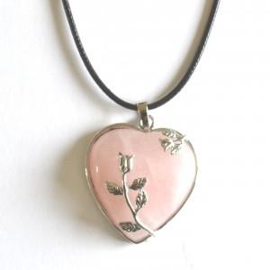 rose quartz heart necklace