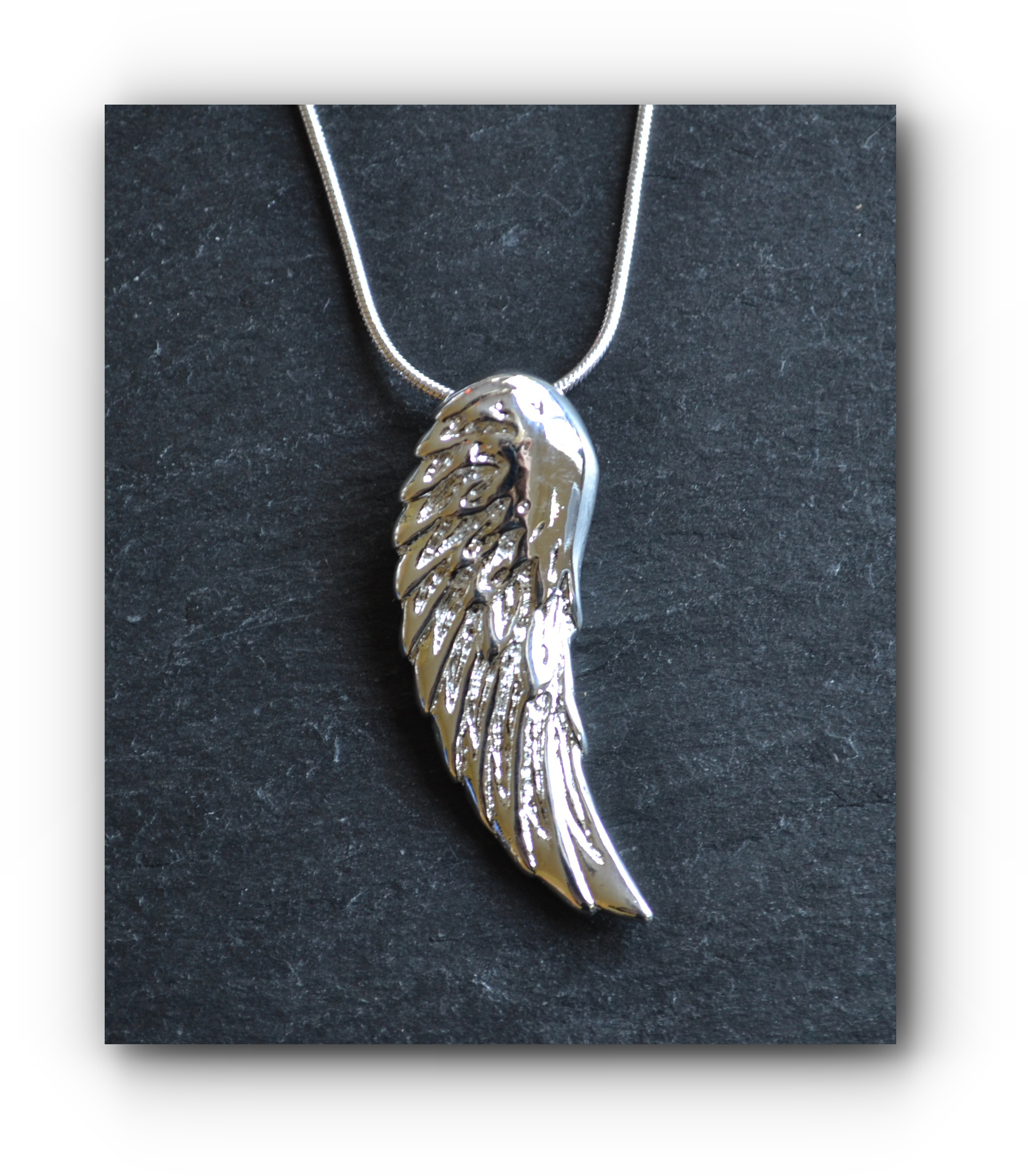 necklace stainless psalm steel angel wing
