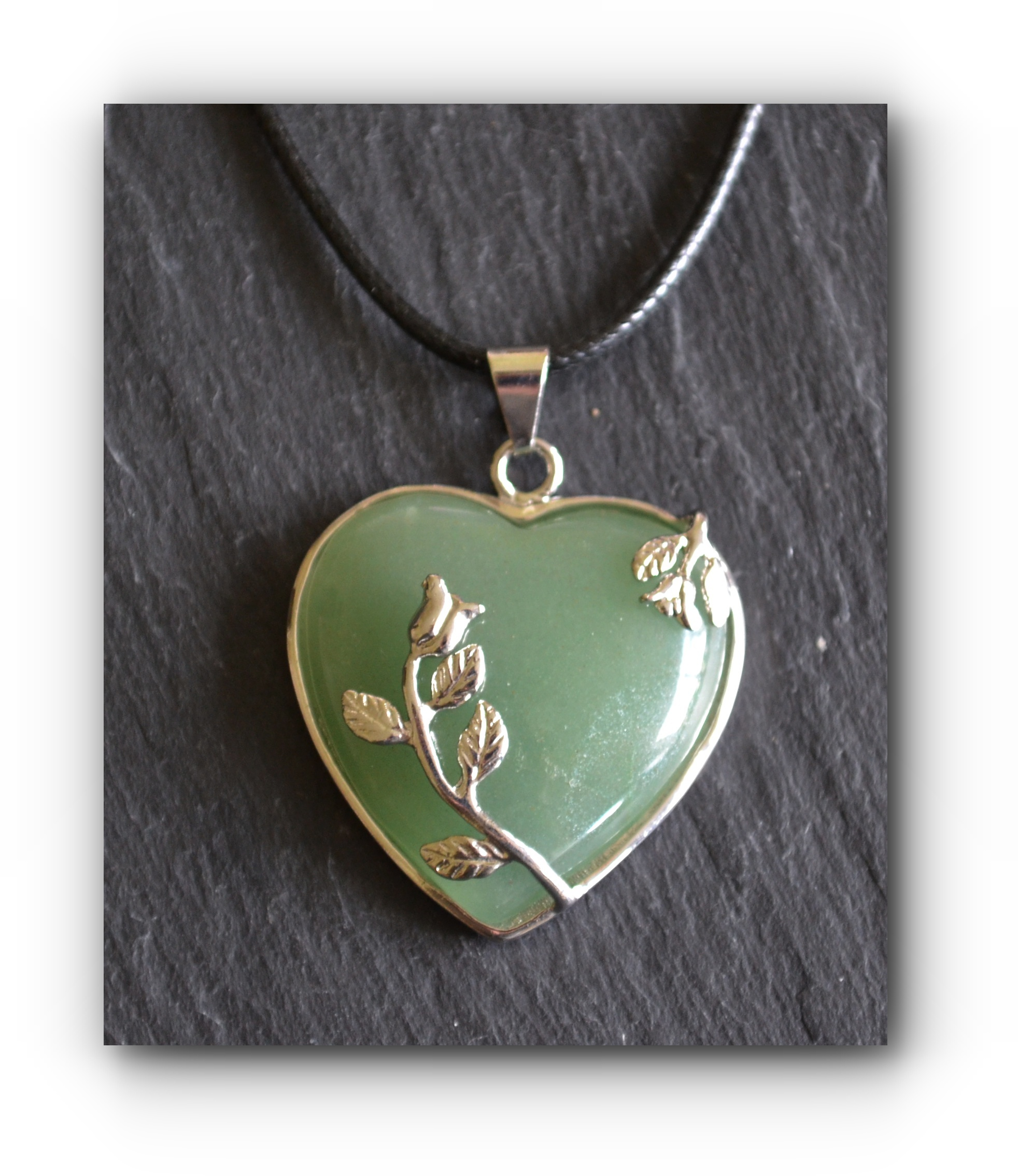 Green aventurine heart rose pendant on black cord necklace mystic wish green aventurine heart rose pendant on black cord necklace aloadofball Image collections