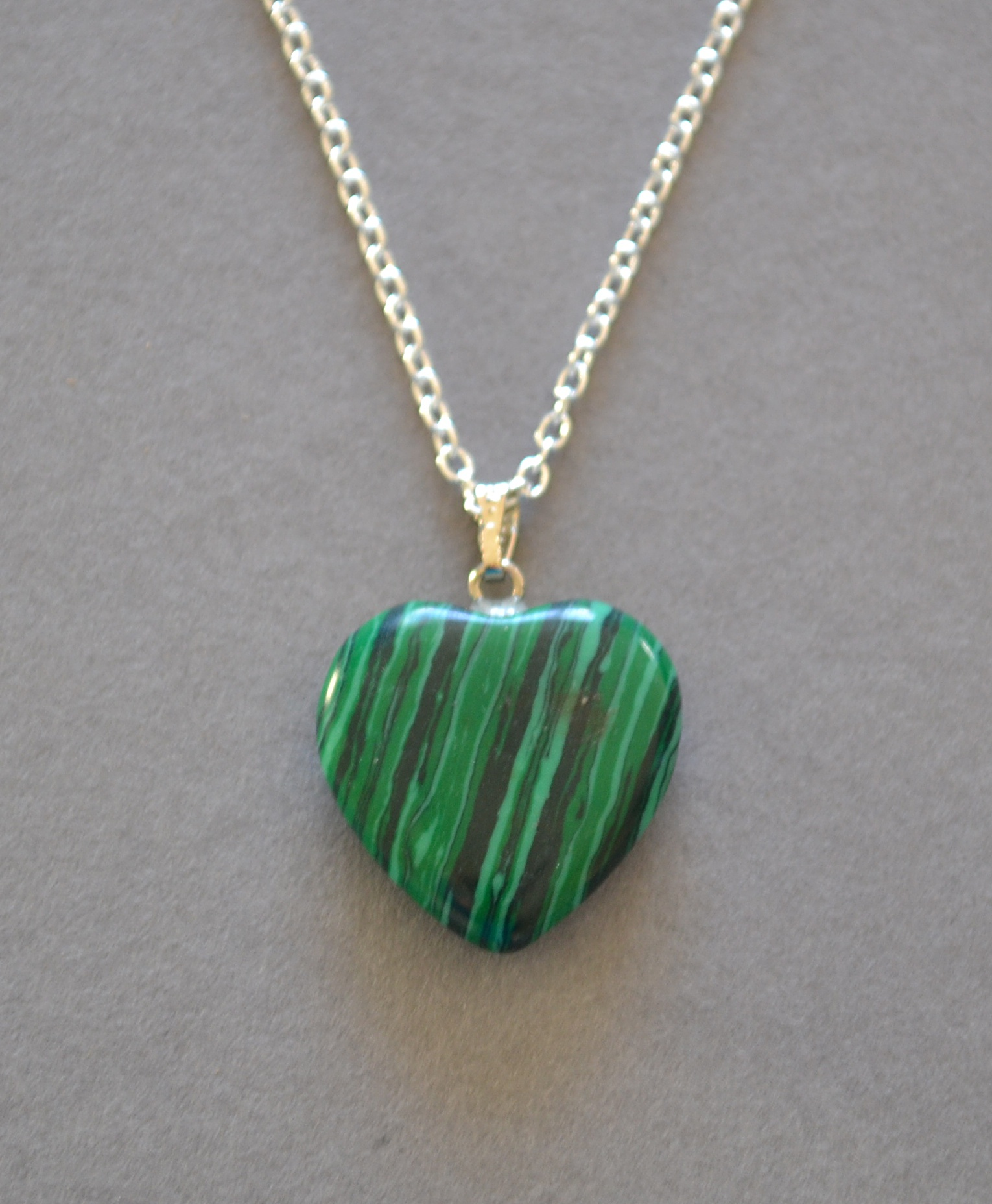 Malachite Heart Pendant Necklace Spirituality Mystic Wish