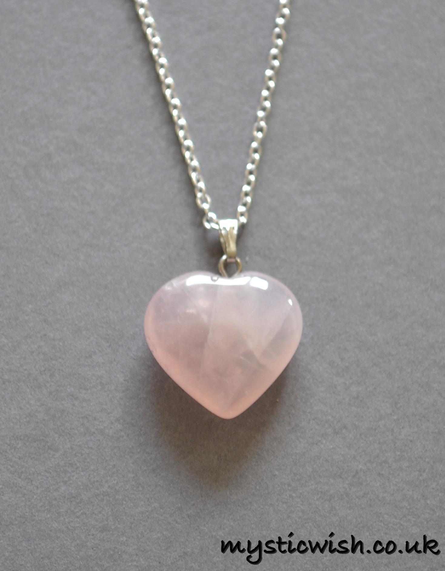 Well-known Rose Quartz Heart Pendant Necklace (Attracting Love) | Mystic Wish UQ12