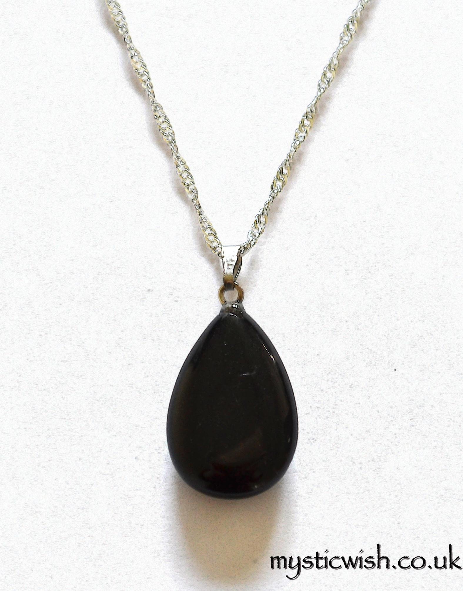 Black Obsidian Teardrop Pendant Necklace Negativity