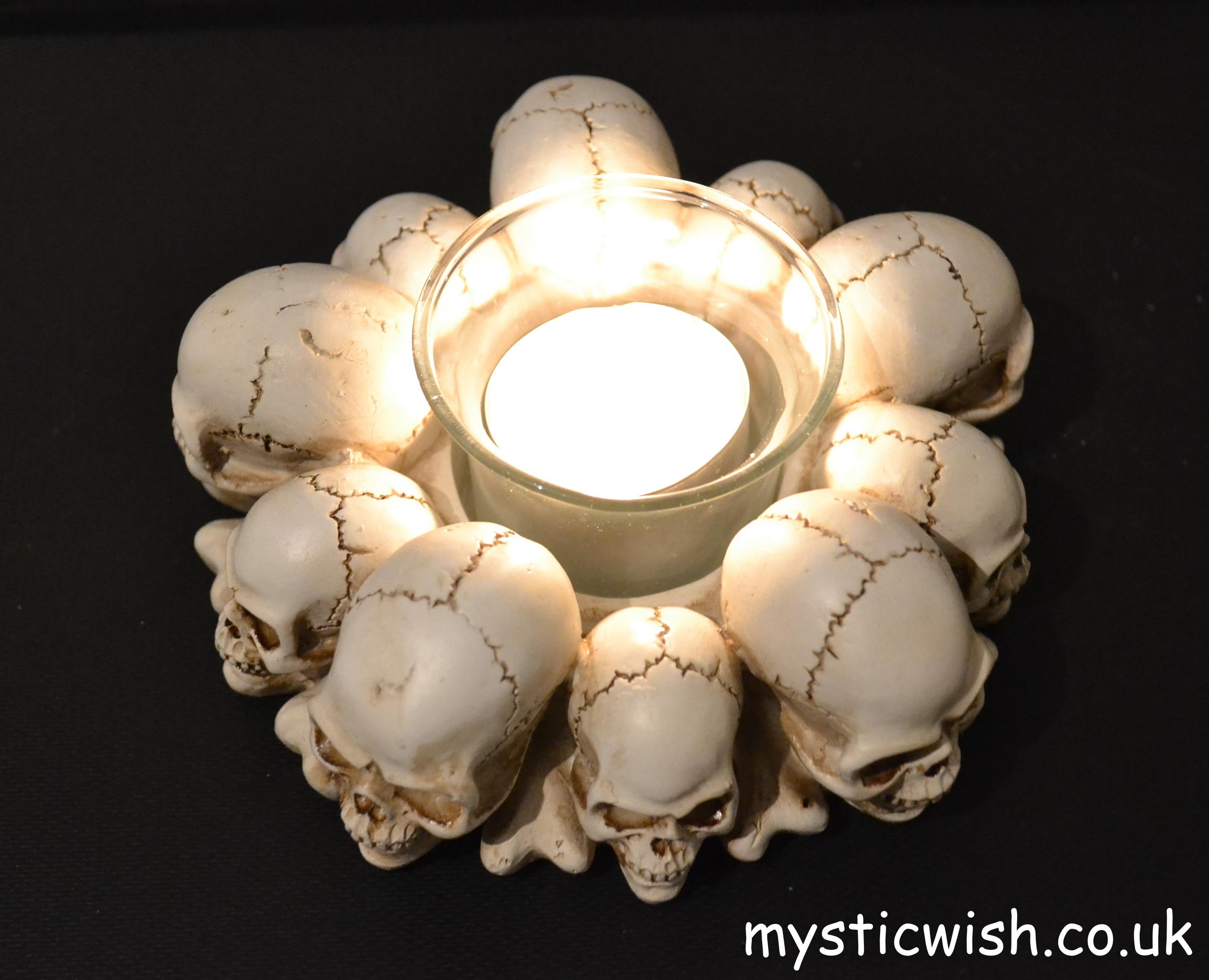 Skull Head Candle Holder Mystic Wish