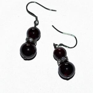 garnet crystal earrings