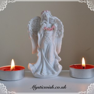 White and pink garland angel
