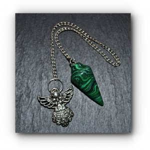 Angel malachite pendulum