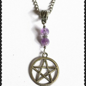 necklace amethyst pentagram