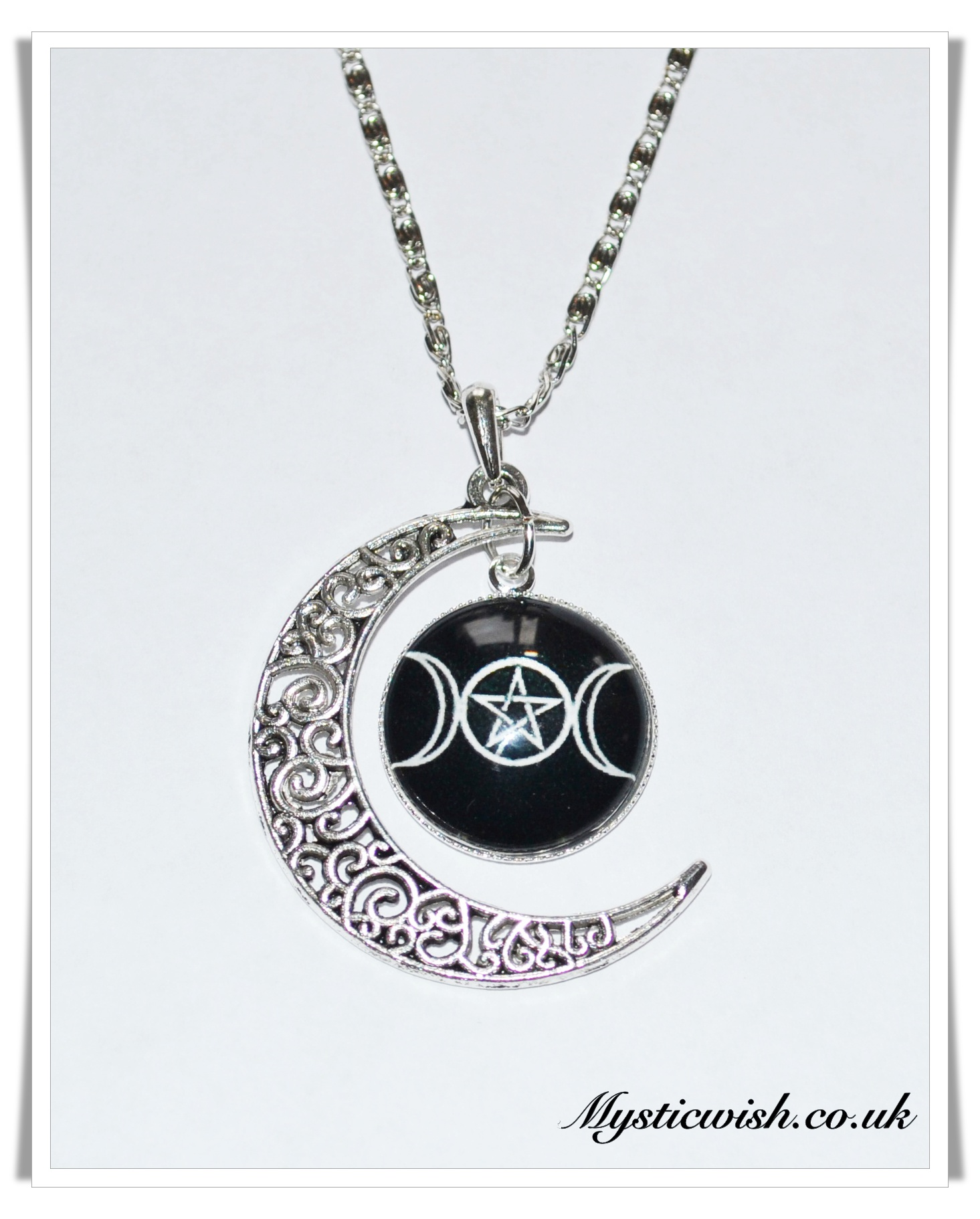 moon necklace large pentacle pewter triple raven