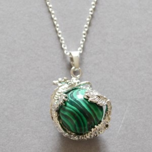 necklace malachite dragon