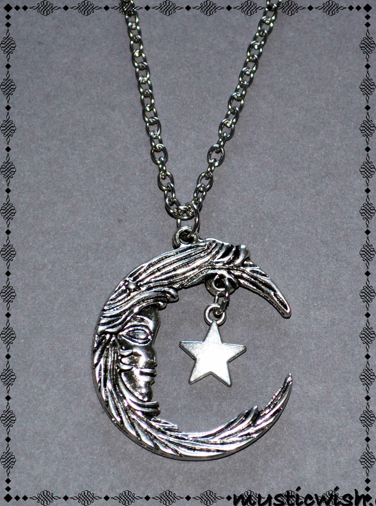 Moon Amp Star Pendant Necklace Mystic Wish