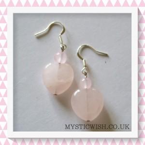 heart earrings rose quartz