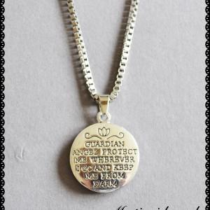 madallion guardian angel necklace