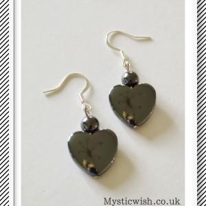 earrings heart hematite