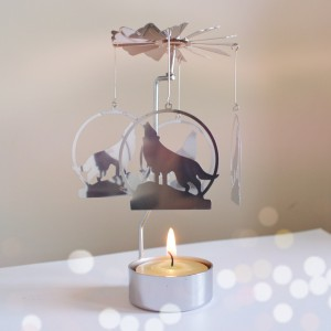 tealight holder spinning wolf