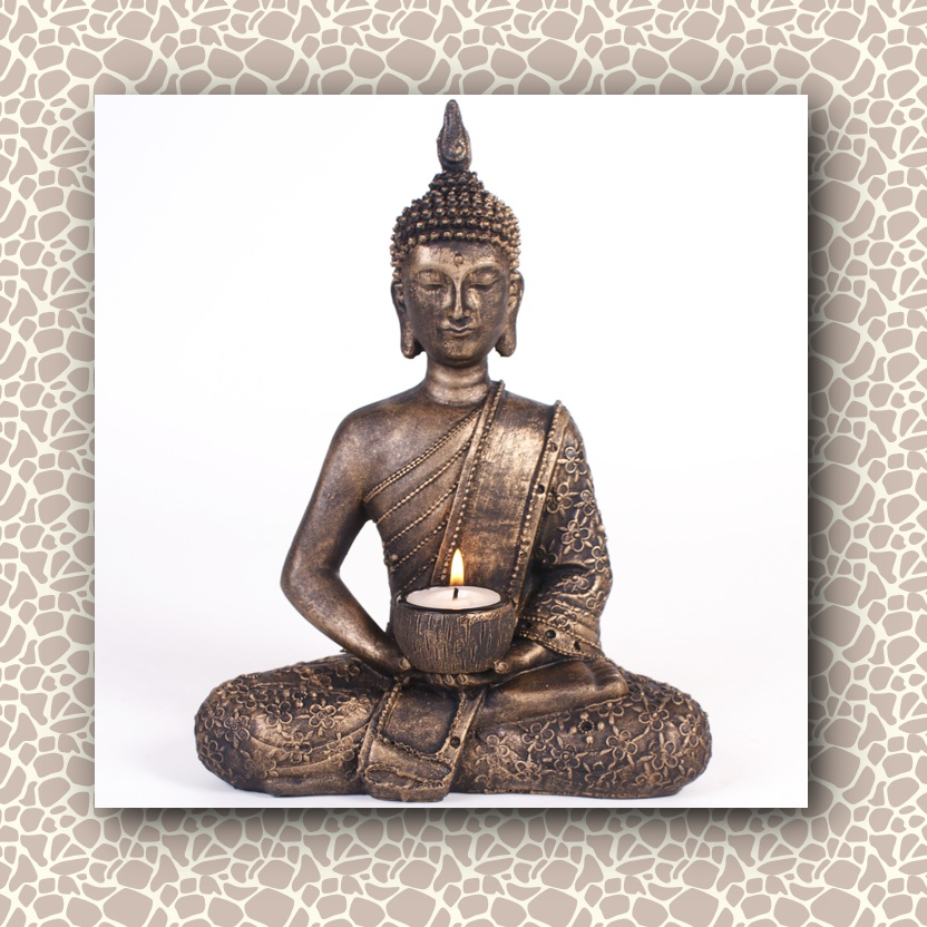 Large Sitting Gold Buddha Candle Holder Mystic Wish