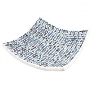 Blue mosaic candle plate