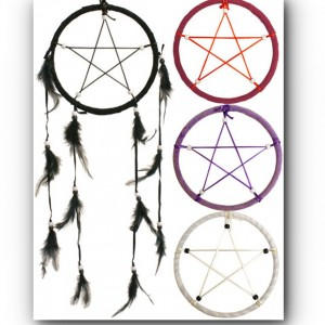 colourful dream catchers pentagram