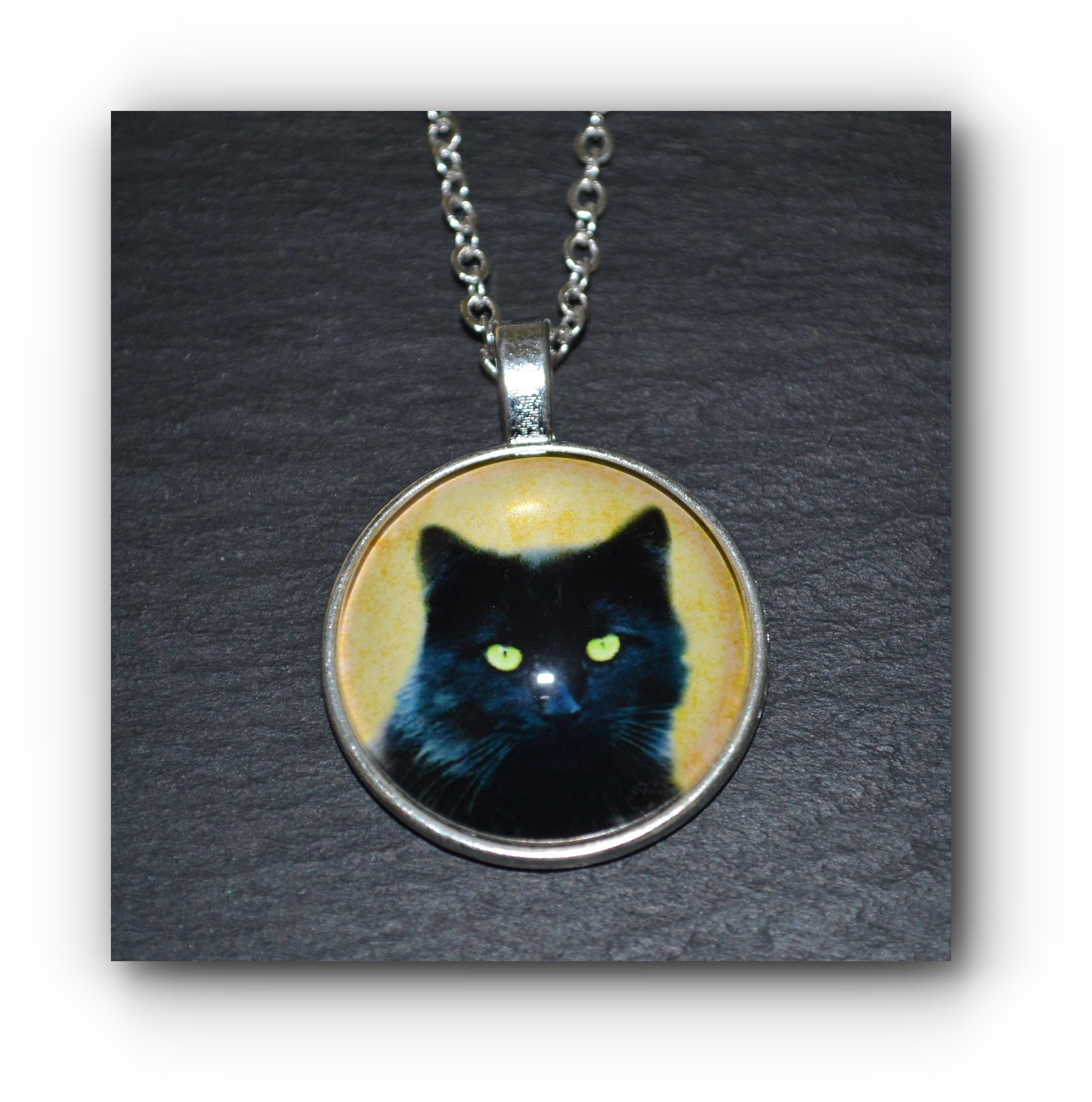 Black Cat Pendant Necklace Mystic Wish