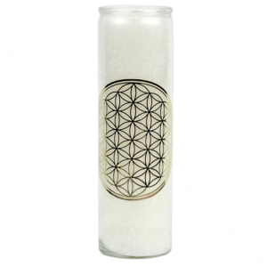 Candle flower of life glass, white