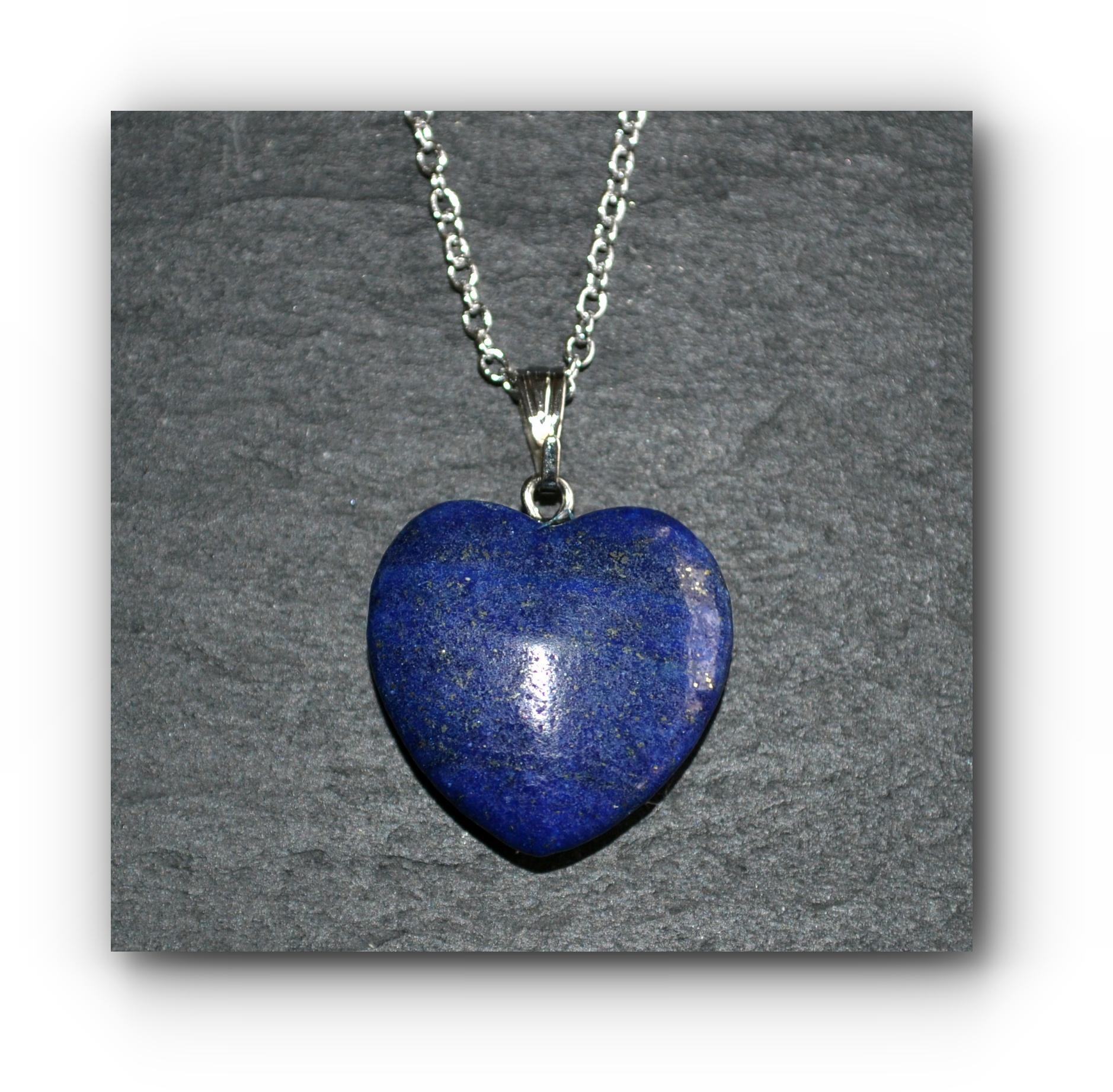 """Blue Lapis Lazuli Heart Pendant Necklace 18/"""" Chain Blue Heart Necklace Pendant"""