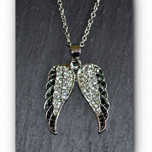 necklace back and white angel wings
