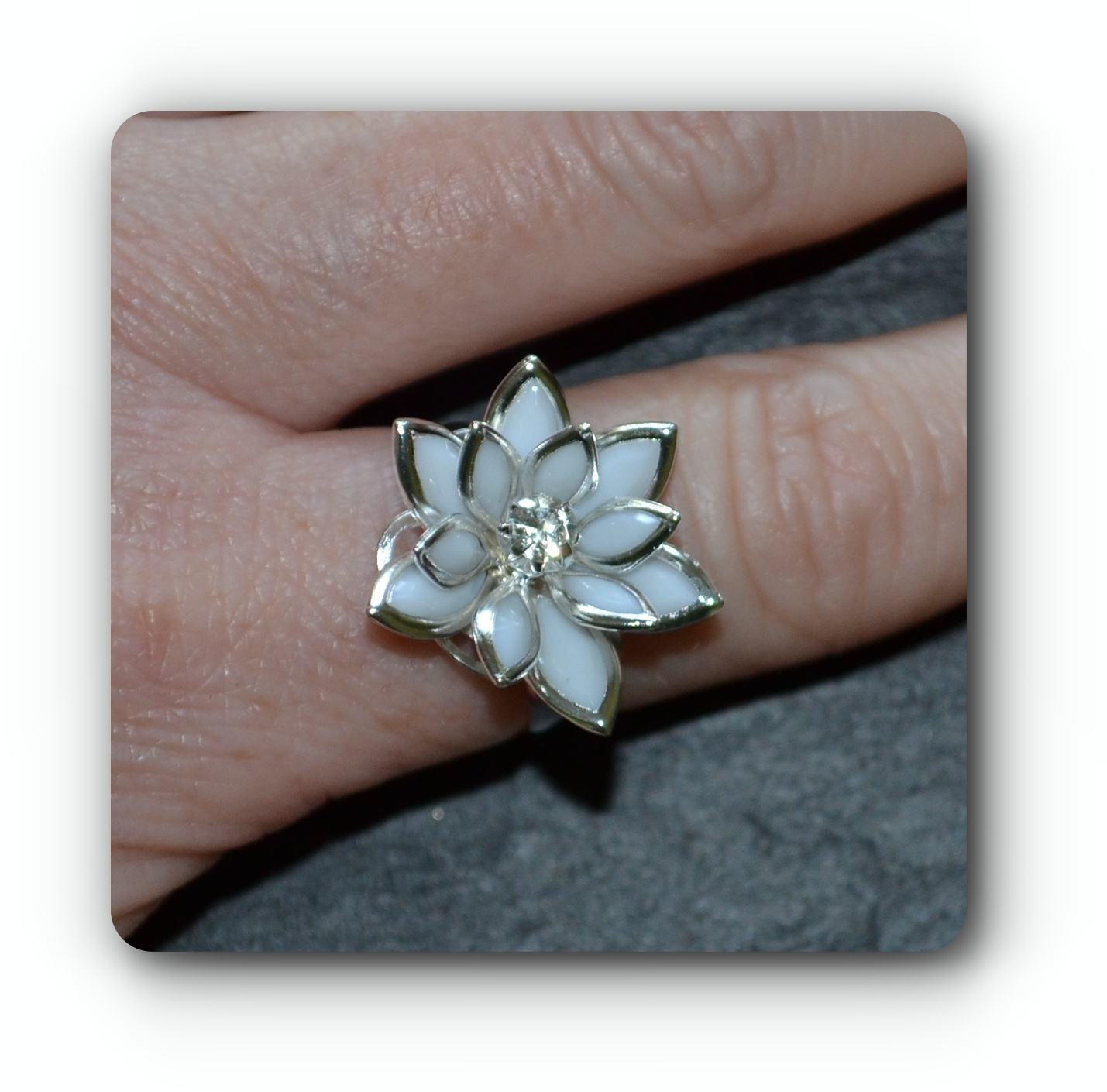 White Lotus Flower Ring Adjustable