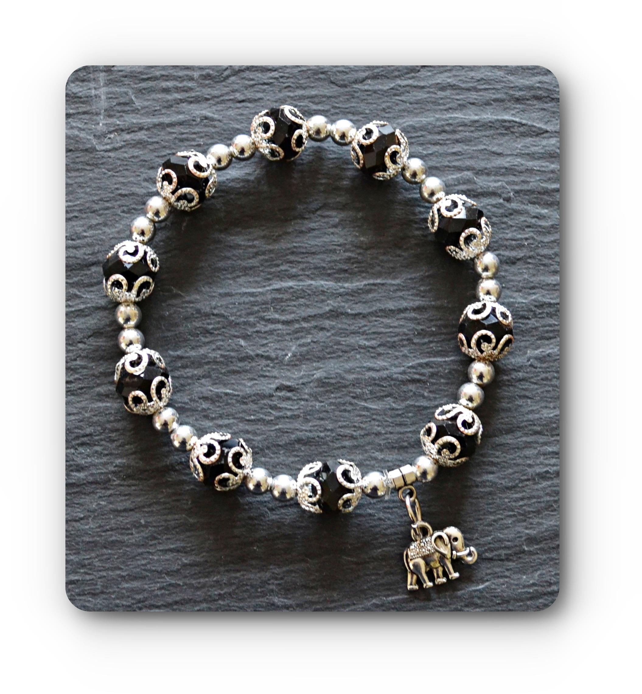 Black Amp Silver Lucky Elephant Bracelet Mystic Wish