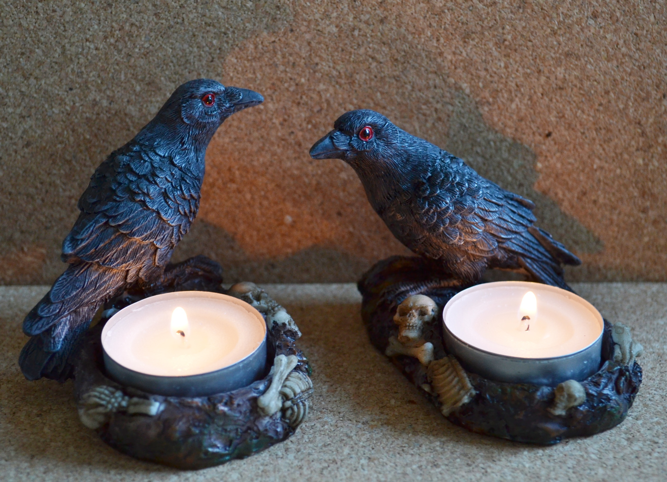 Raven Crow Candle Holder Mystic Wish