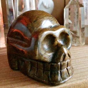 Carved tigerseye skull