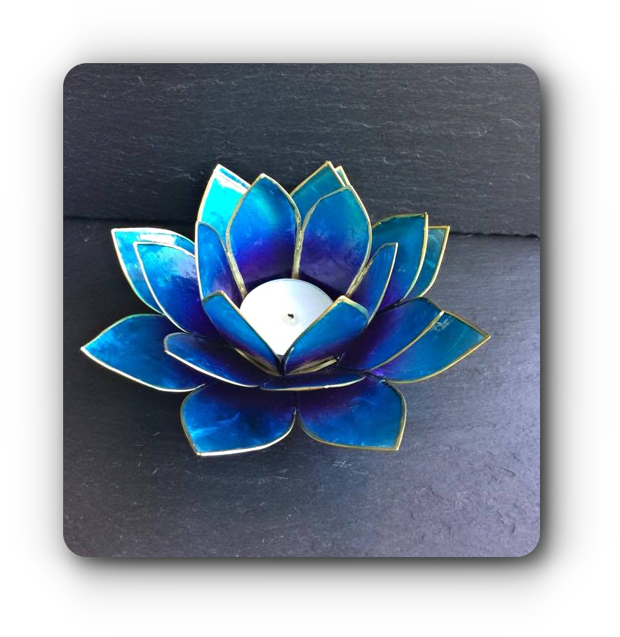 Blue Purple Lotus Flower Tea Light Holder Mystic Wish