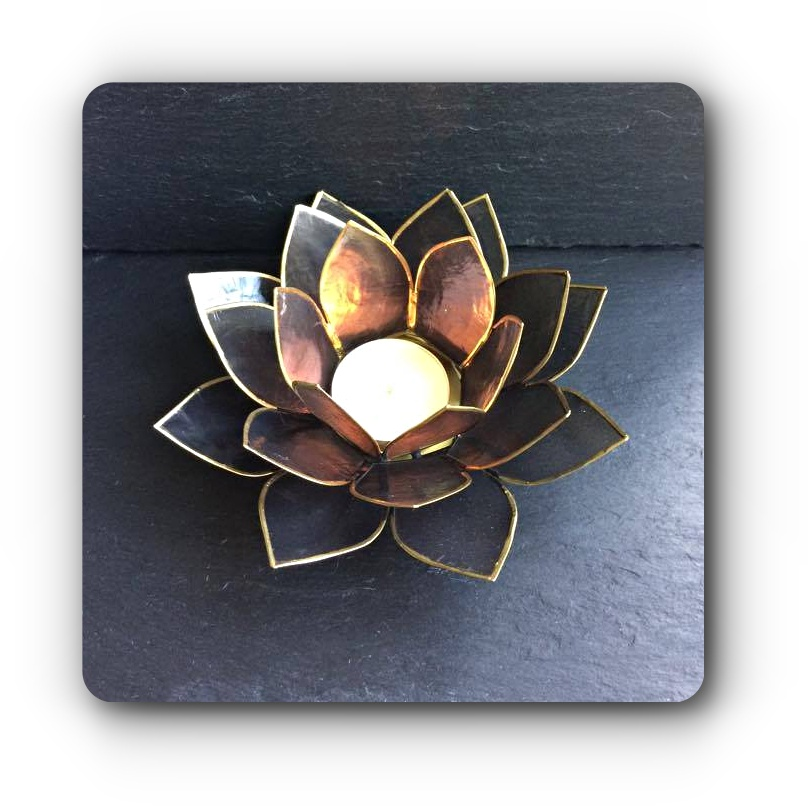 Black Lotus Flower Tea Light Holder Mystic Wish