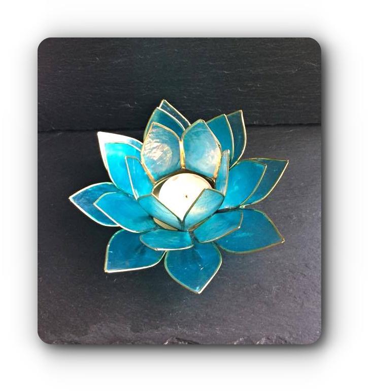 Blue Lotus Flower Tea Light Holder 5 Mystic Wish