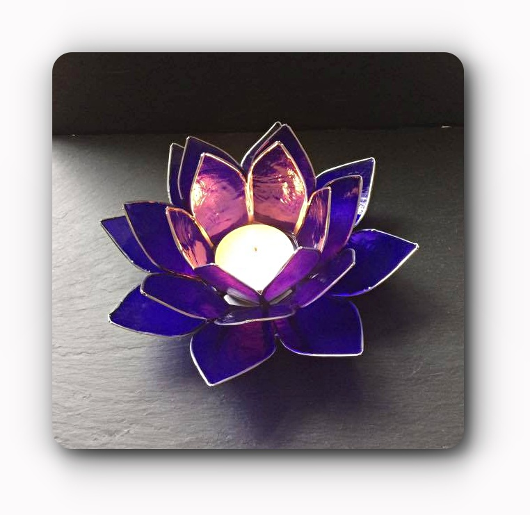 Indigo Lotus Flower Tea Light Holder Mystic Wish