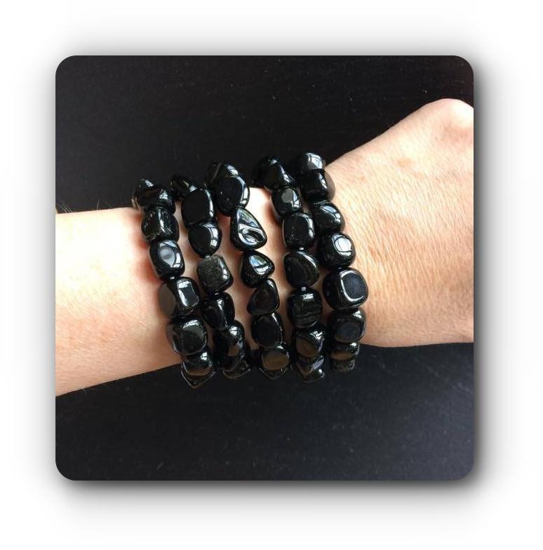 2e48f470a1db Black Obsidian Healing Crystal Nugget Bracelet (Negativity Grounding ...
