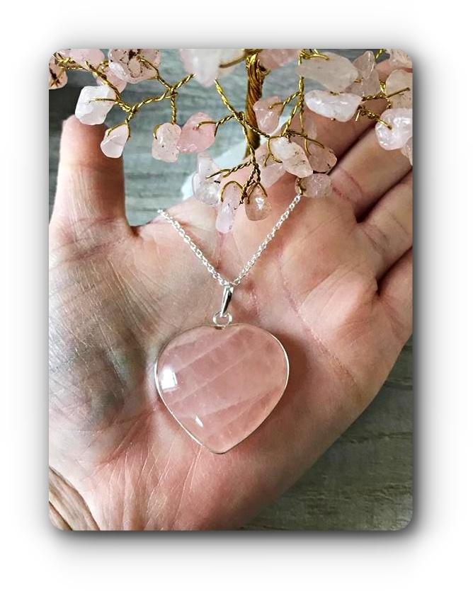 Large rose quartz heart pendant love mystic wish large rose quartz heart pendant love aloadofball Choice Image