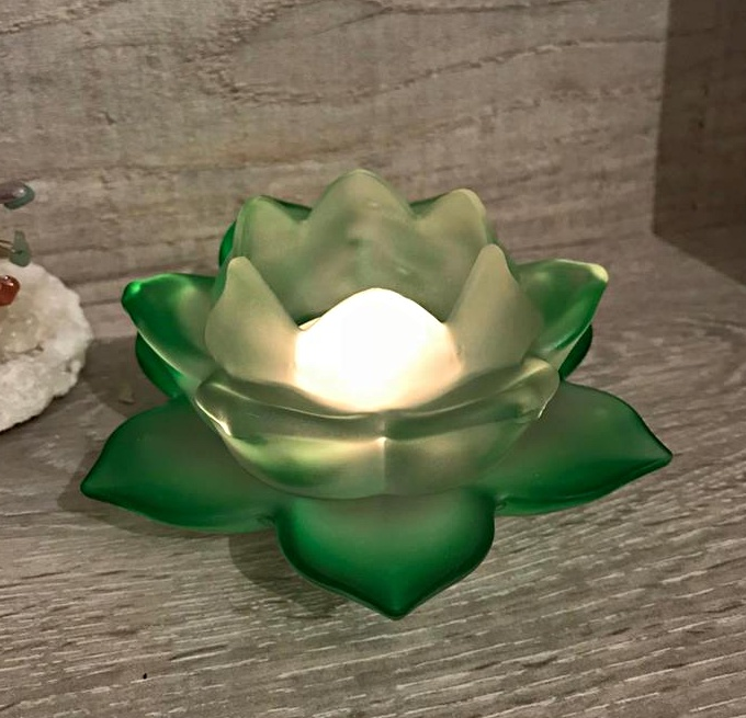 Frosted glass lotus flower candle holder green mystic wish frosted glass lotus flower candle holder green mightylinksfo